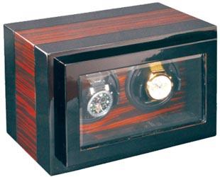 Шкатулка для подзавода 2-х механических часов- коричневого цвета от компании Aubolex.