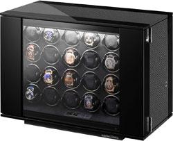 Компактный шкаф для механических часов с автоподзаводом. Черный рояльный лак со вставками из углеродного волокна