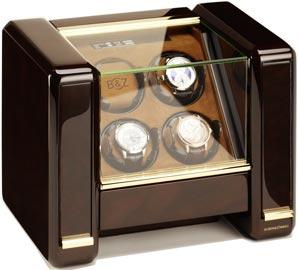 Шкатулка для автоматических часов от известной немецкой компании с жк экраном. Массив дерева, стекло, велюр цвета Табак.