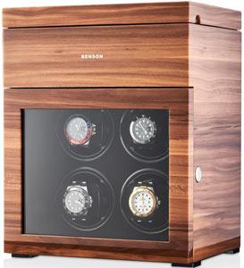 Часовая шкатулка для подзавода наручных часов. Лимитированная серия 250 шт. Деревянный корпус покрыт глянцевым рояльным лаком. Для 4 часов + 3 хранение. Сенсорный ЖК дисплей. Подсветка.