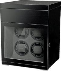 Деревянная шкатулка черного цвета для завода 4 наручных часов и с отделением для  хранения