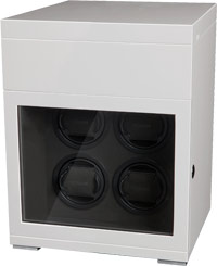 Деревянная шкатулка белого цвета для завода 4 наручных часов и с отделением для  хранения