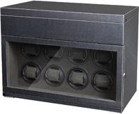 Большая шкатулка для завода наручных механических часов. 8 индивидуальных ячеек для завода + 6 мест для статического хранения. Деревянный корпус с отделкой под карбон.