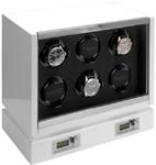 Шкатулка фирмы Kadloo для подзавода 6 часов с автоподзаводом, с электронным управлением. Выполнена в деревянном корпусе, покрытым белым рояльным лаком