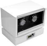 Шкатулка для подзавода двух механических часов, с электронным управлением, выполнена из дерева с многослойным нанесением белого рояльного лака.
