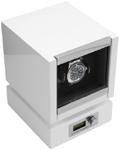 Шкатулка для подзавода одних механических часов, с электронным управлением, выполнена из дерева с многослойным нанесением белого рояльного лака.