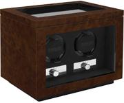 Часовая шкатулка Kadloo Cube 2 Burlwood для двух механических часов. Независимые моторы, отделка орех. Работа от сети.