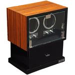 Шкатулка Linea del Tempo для подзавода двух механических часов. Она имеет выдвижное отделение для восьми часов, а также ящичек для хранения аксессуаров. Возможно выбрать направление вращения и количество оборотов в сутки