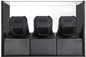 Шкатулка с автоподзаводом для трех часов, пластик темно-серого цвета, работает от сети и на батарейках