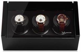 Шкатулка для подзавода 3-х механических часов, выполнена из натурального дерева. Отделка: черный глянцевый лака.
