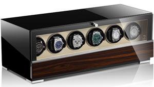 Шкатулка для 6 наручных часов с автоматическим заводом в классическом в деревянном корпусе.