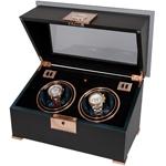 Шкатулка Duo для подзавода 2 часов, из полированного эбенового дерева, детали из розового золота, внутренняя отделка черный вельвет