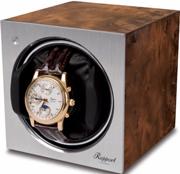 Шкатулка Tetra от Rapport для завода одних наручных часов. Отделка: орех и алюминий