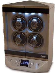 Шкатулка для подзавода 4-х механических часов от Раппорт. Templa Silver. Электрические двери. Подсветка. ЖК дисплей.
