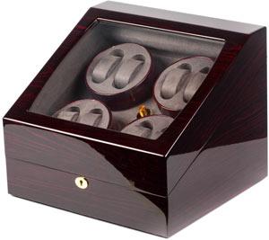 Компактная шкатулка для подзавода механических часов, изготовлена из натурального дерева отделка: лак.