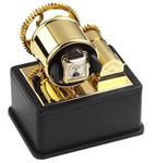 Шкатулка для подзавода часов от Итальянской компании Scatola del Tempo для подзавода 1-х часов (верх-позолота, низ-черная кожа)