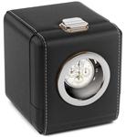 Шкатулка для хранения часов от Итальянской компании Scatola del Tempo для подзавода 1-х часов (черная кожа, окошко желтый металл)