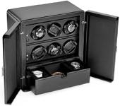 Шкатулка для наручных часов Scatola del Tempo для подзавода 6-ти часов, 1 ящик для хранения часов и аксессуаров полированая с 1-ой стекляной дверцой
