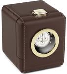 Дорожная шкатулка для механических часов (темно-коричневая кожа, окошко белый металл)