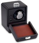 Шкатулка для хранения часов от Итальянской компании Scatola del Tempo для подзавода 1-х часов (черная кожа, белый металл)