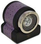 Шкатулка для подзавода 1-х часов, с окошком, пластик с отделкой из фиолетовой кожи