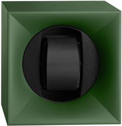 Шкатулка для часов Свисс Кубик зеленого цвета, выполнена из пластика и работающая от батарейках