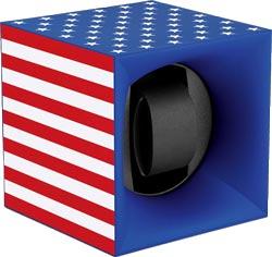Шкатулка для часов Свисс Кубик цвета американского флага, выполнена из пластика и работающая от батарейках