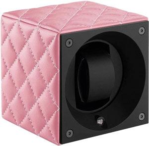 Швейцарская шкатулка из коллекции «Couture» для завода 1 наручных часов. Отделка – розовая матовая кожа с прострочкой.