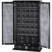 Шкаф для автоподзавода часов с ящиками для хранения ювелирных изделий. Имеется тридцать автономных держателей, что позволяет брать модули в дорогу.
