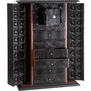 Шкаф для автопозавода сорока часов и ящиками для хранения драгоценностей.