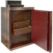 Большой сейф для драгоценностей и наручных часов. Заводные модули при нажатии кнопки плавно выезжают вверх.