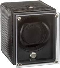 Шкатулка для подзавода 1-х наручных часов черного цвета с прозрачной крышкой.