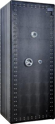 Просторный сейф для 40 часов с автоподзаводом и четырьмя ящиками для хранения часов украшений и документов. Сейфовый замок «Sargent и Greenleaf» огнеупорность 30 минут. Отделан натуральной кожей, тиснение крокодил.