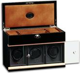 Модуль на трое часов с отделением для ювелирных изделий, деревянный, черный лаковый