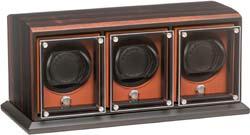 Часовая шкатулка для подзавода 3-х наручных часов в корпусе из натурального дерева/ Отделана натуральным шпоном макассара