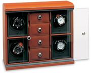 Модуль на четверо часов с четырьмя отделениями для ювелирных изделий кожаный, коричневый