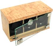 Три модуля для наручных часов в корпусе из массива карельской березы. Стеклянная дверь закрывается на ключ