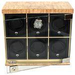 Шесть независимых модулей для подзавода наручных механических часов. Корпус шкатулки выполнен из натуральной карельской березы