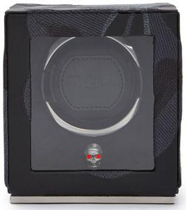 Шкатулка для часов из коллекции Memento Mori. Отделка экокожей с ручной вышивкой в виде черепа.