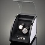Шкатулка Elma Style для 2 часов черная, отделка алюминий. Обеспечивает все типы подзавода: по часовой стрелке, против часовой стрелки и переменное вращение.