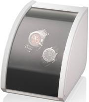 Элегантная белая шкатулка для двух механических часов. Отделка: белая натуральная кожа и рояльный лак.